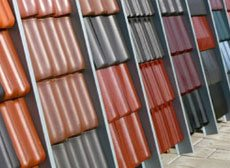 Angular View of Multicolor Roof Tiles on Display Stands