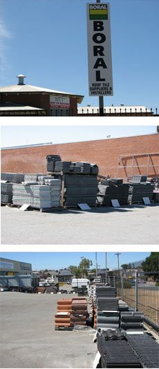 3 images of Boral Roof tile stacks near wall & fence