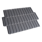 Three black coloured premium monier roof tiles on a transparent background