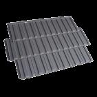 Three black coloured premium monier roof tiles on a transparent background