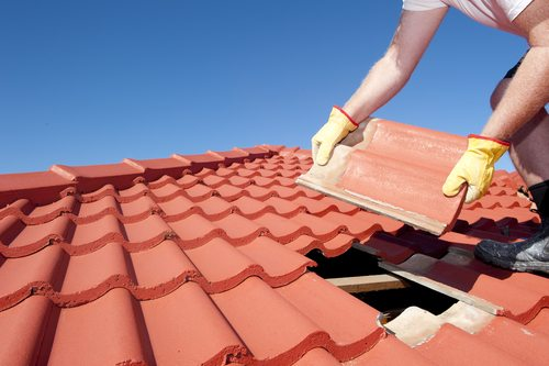 Roofer laying brand new terracotta roof tiles